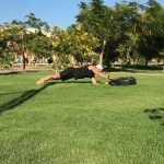 Raphael Jesse from Das Trainingslager : plank - core exercise with Sandbag